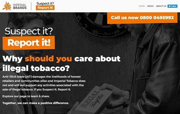 Imperial Brands UK lanza un portal de denuncias contra el tabaco ilegal